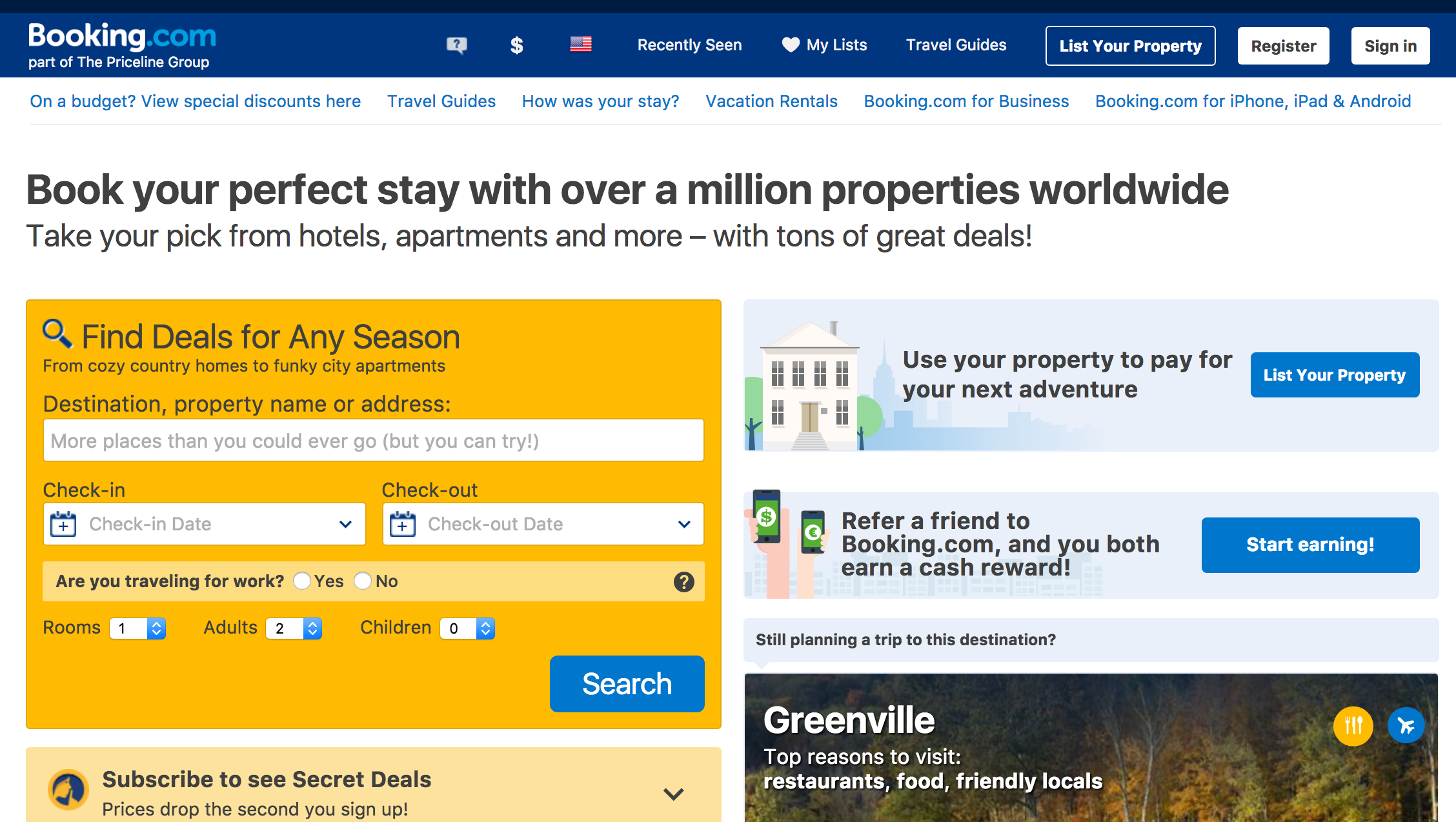 Booking.com makes it easy to find a good priced hotel.
